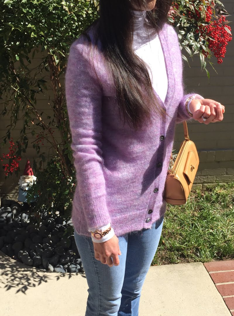 Lavender and Blue Jeans Outfit - close up of cardigan, purse, and watch.