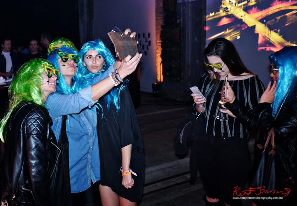 Blue and green wigs, selfie time! UE Boom 2 Launch at Carriageworks Sydney #PartyUp photographed by Kent Johnson for Street Fashion Sydney.