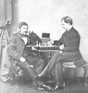 Josef Kling y Frank Healey jugando al ajedrez en Londres en 1859
