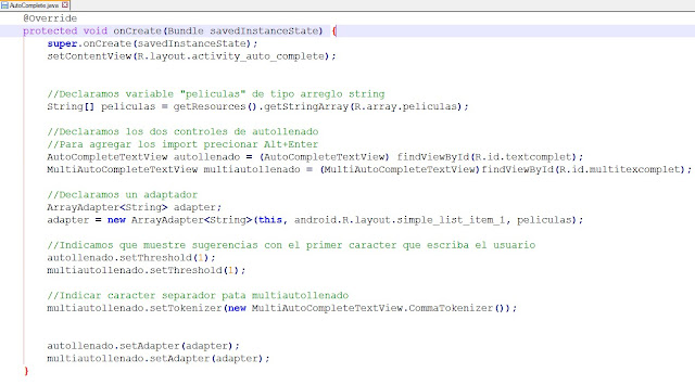 Android AutocompleteTextview y MultiAutoCompleteTextview