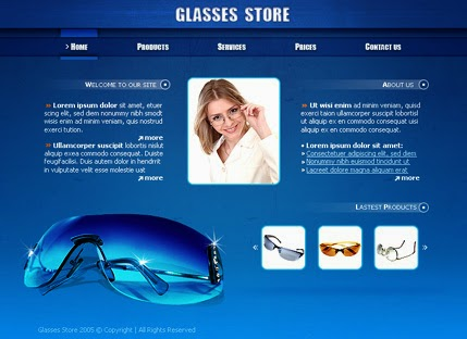 Free Download Top Best  Eye Glasses Store Website Templates