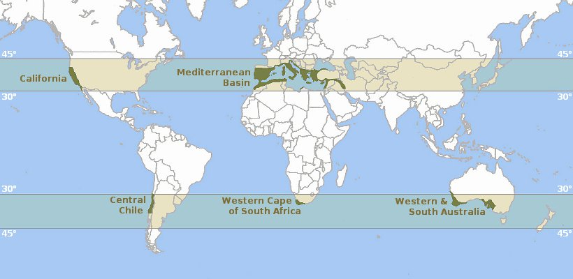 Map of the World's Mediterranean climate zones
