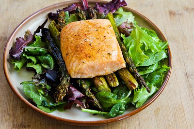 Roasted Salmon and Asparagus Salad with Mustard Vinaigrette found on KalynsKitchen.com