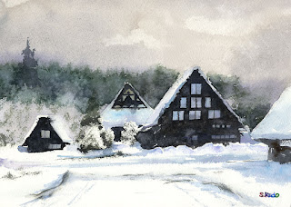 水彩画 雪の里 雪に明暗をつける。 Watercolor The village in the snow Paintingsnow shade