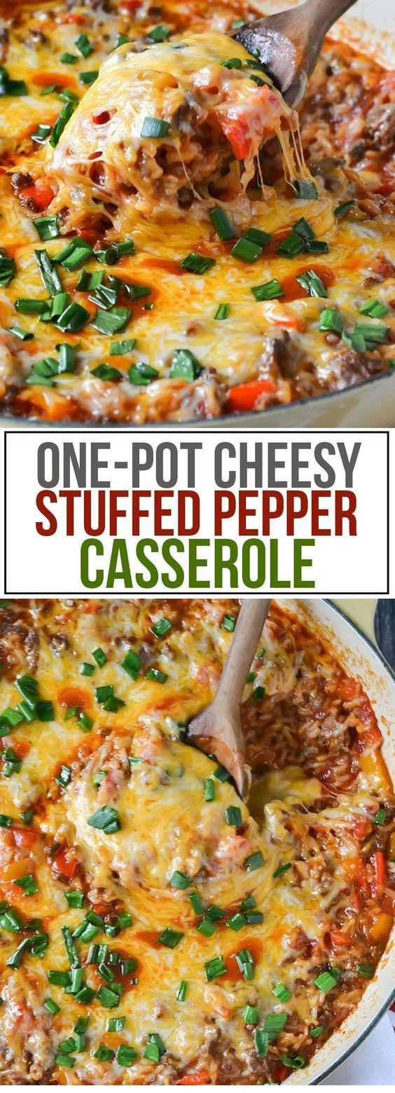 One-Pot Cheesy Stuffed Pepper Casserole