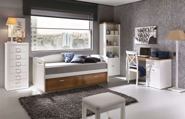 Dormitorios juveniles en gris y blanco colores en casa - Dormitorios juveniles blancos ...