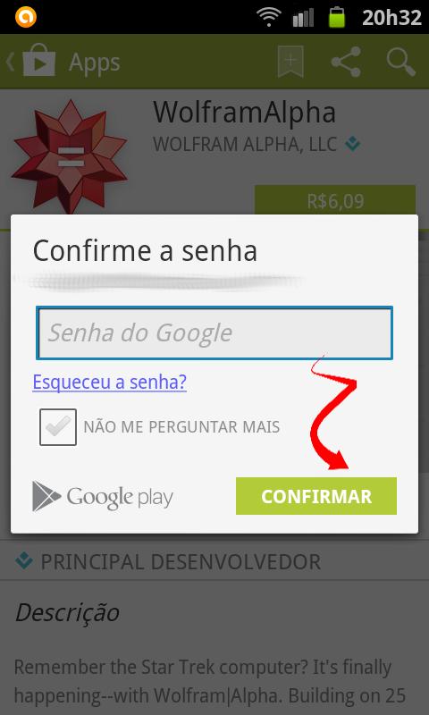 Informar senha para comprar o aplicativo