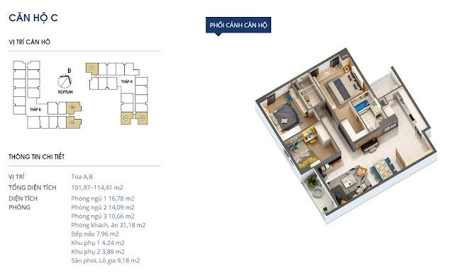 Thiết kế căn hộ hạng C Chung cư 69 Vũ Trọng Phụng
