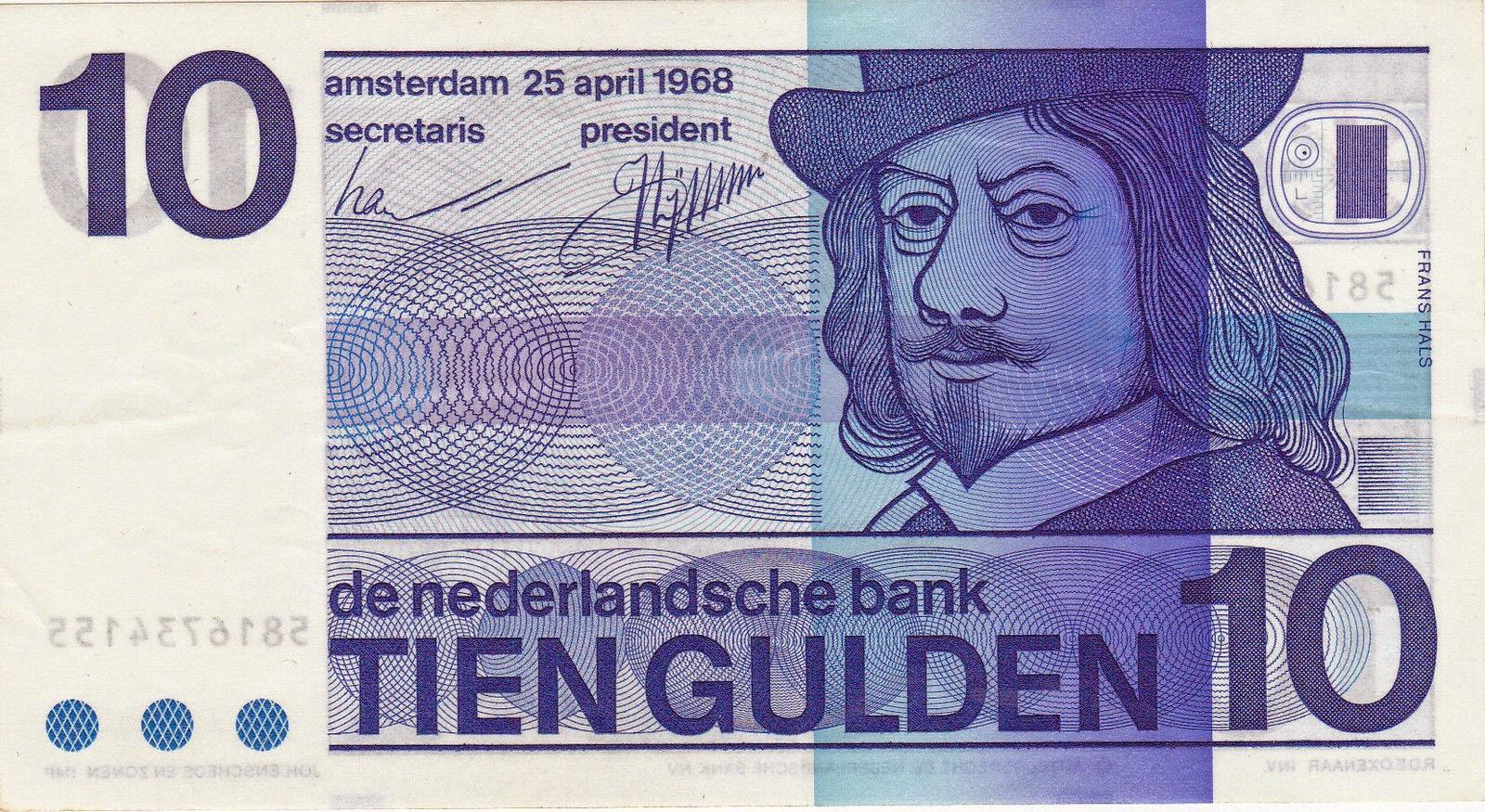 Netherlands Banknotes 10 Gulden Banknote 1968 Frans Hals