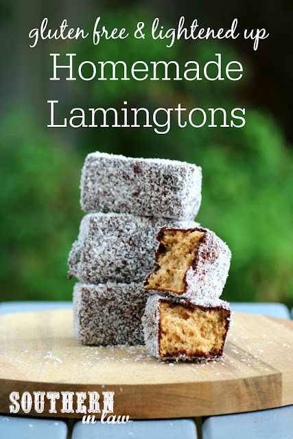 Homemade Gluten Free Lamingtons Recipe - low fat, gluten free, nut free, dairy free, lower sugar, homemade gluten free sponge cake recipe, healthy australia day recipes