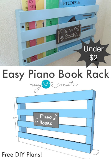 Easy to follow Free plans on How to build a piano book rack!  Perfect for all those kids piano books!