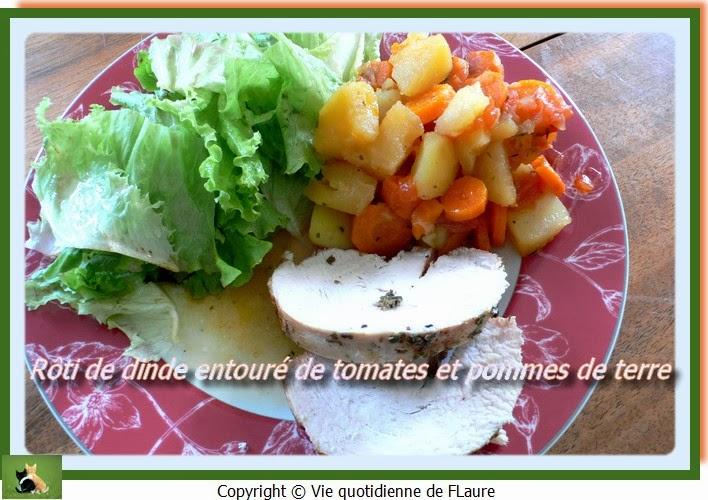 Vie quotidienne de FLaure: Rôti de dinde entouré de tomates et pommes de terre