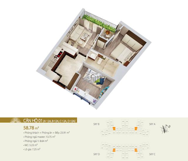 Thiết kế căn 01 DT 58,78m2 chung cư Imperia Sky Garden