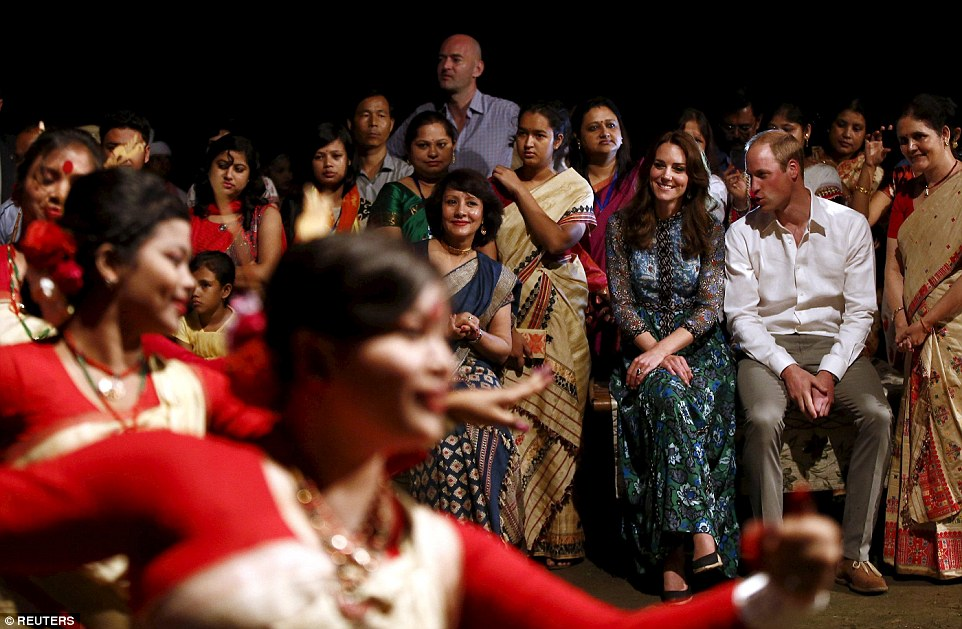 Kate opted for a folksy floral printed Anna Sui dress for a warm evening in Assam, India