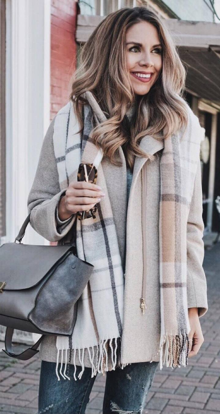 tredny fall outfit of the day_bag + coat + jeans + printed scarf