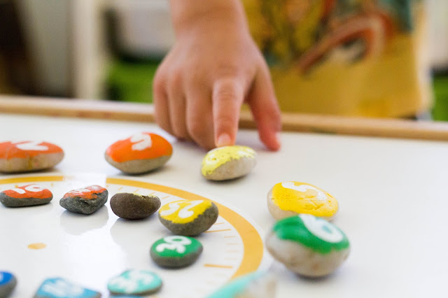This Montessori inspired DIY rainbow rock clock is perfect for preschoolers and kindergartners interested in learning time. Plus, this self-correcting materials is easy and fun to make!