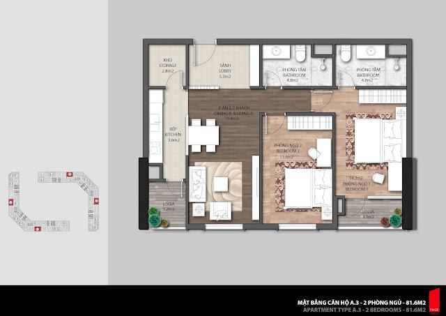 Thiết kế căn A.3 diện tích 81,6m2 chung cư The Emerald