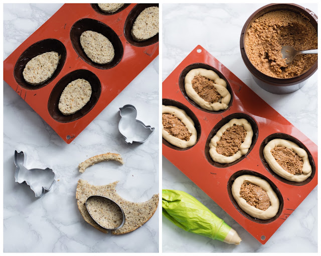 Préparation d'oeufs au chocolat pour le dessert de Pâques