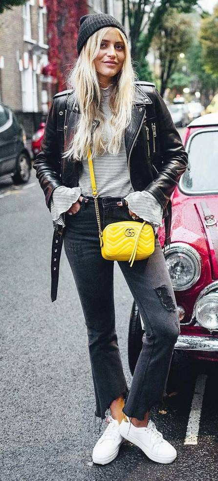 fall street style perfection: hat + leather jacket + top + rips + bag