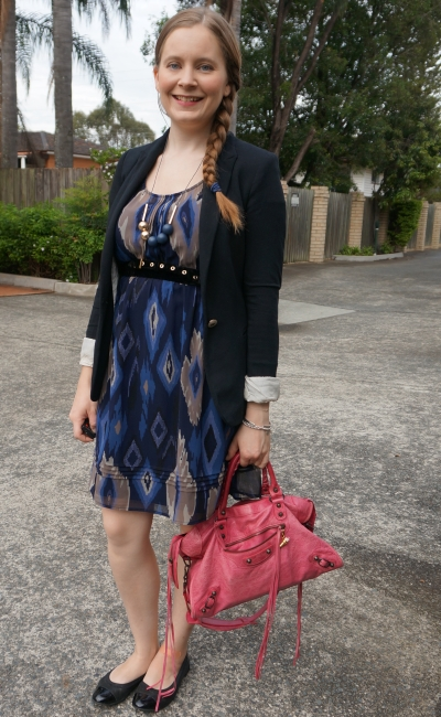 navy ikat print empire waist dress with knit blazer and pink Balenciaga city bag for office | away from blue