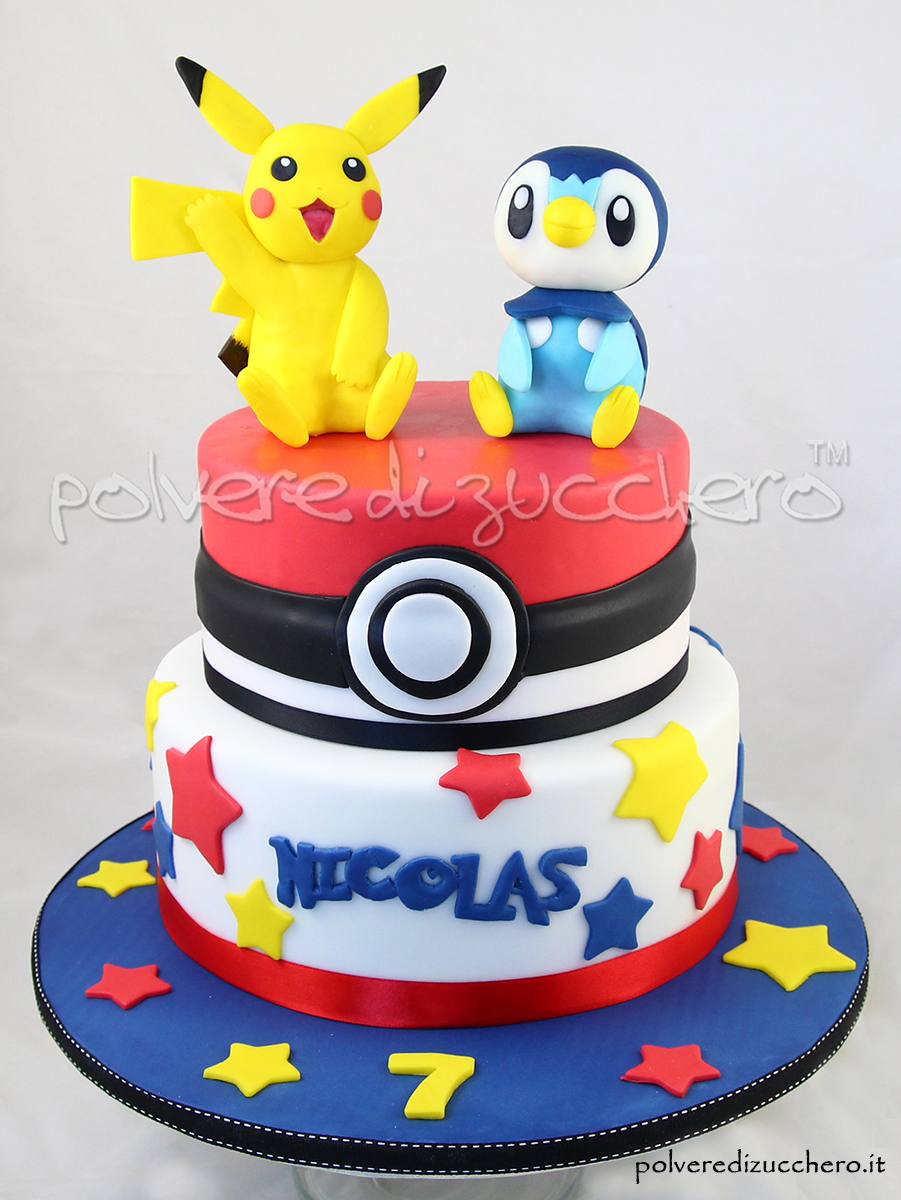 torta e cupcake decorati dei pokemon con pikachu e piplup tridimensionali in pasta di zucchero. Black Bedroom Furniture Sets. Home Design Ideas