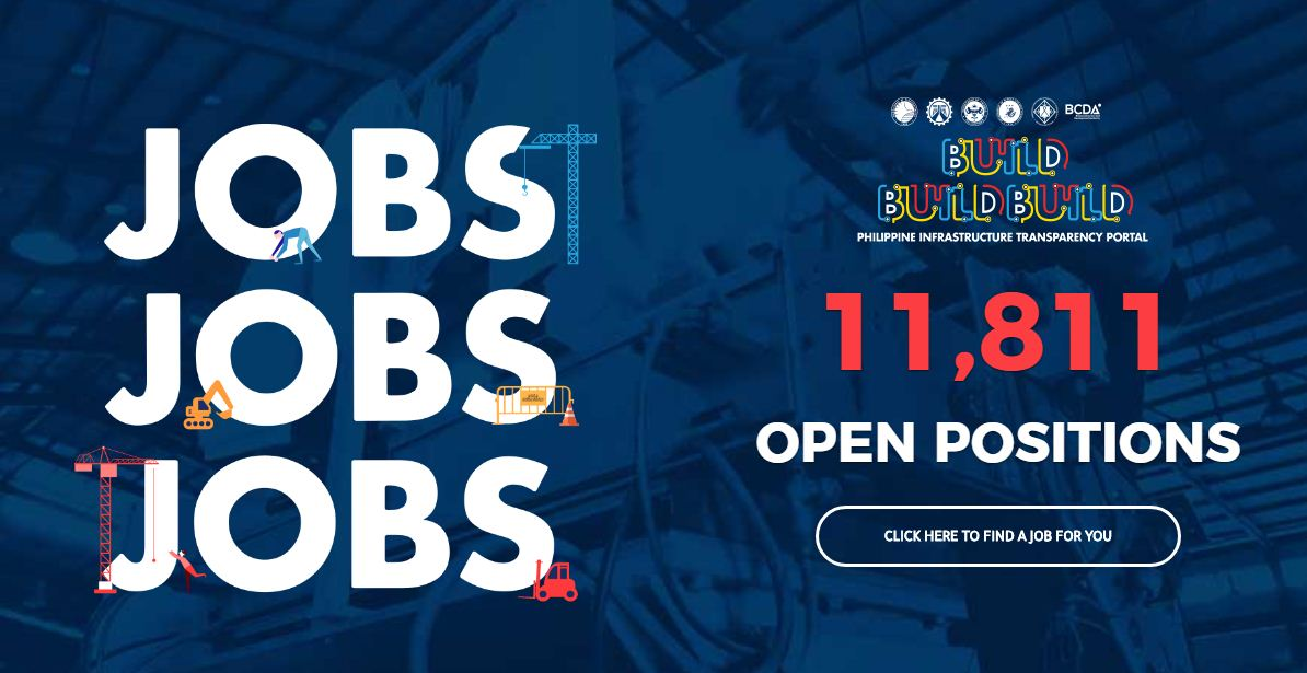 "Are you looking for work? Here is a good news for you. The Department of Public Work and Highways (DPWH) has more than 11,000 construction-related jobs for all Filipinos out there who want to work here in the Philippines.  And another good thing about this job opportunity is that you can apply online through a portal launched by DPWH under ""Build, Build, Build"" infrastructure program of the Duterte Administration.   According to DPWH Secretary Mark Villar, job seekers can visit the website — www.build.gov.ph to see the list of jobs where they can apply also online. He added, the 11,000 jobs were just the initial batch of more than 100,000 jobs that would be generated by the Build, Build, Build projects. Jobs were not only in Metro Manila but soon in Visayas and Mindanao. Job seekers can apply for project foreman, laborer, assistant mechanic, Auto-cad operator, admin staff, executive assistance, dispatcher, an engineer at many others. This opportunity is not only for Filipinos in the Philippines but Overseas Filipino Workers (OFWs) as well.  If you are interested, here are simple steps on how to apply online!  Step — 1  Visit the www.build.gov.ph Step — 2 On the upper left, click the menu bar, then the ""JOBS"" Step — 3 Scroll down to see the jobs category on the left, and the display of job available. To narrow down your choices, you can ""check"" the box on the left side of job categories, the city or municipality and the employment type. Step — 4 Choose the job you want to apply and then click! Step — 5 Here you can see key details of the job you want to apply as well as job description, qualifications and skills required. Click ""Apply"" if you think you meet the requirements. You may sign up an account or use your Facebook account for quick sign-in. Step — 6  Here you must answer a question, ""Why Should We Hire You?"" State your reasons why you should be hired then click ""Submit"" Step — 7  Your Job Application is sent and your employer will notify you about your application as soon as possible. Job seekers are being adviced to complete their jobseeker profile or online resume in Jobseeker Portal to increase the chances of getting hired."