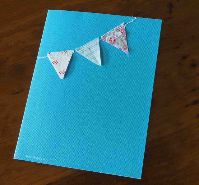 Personalise a gift with a handmade sewn card. All it takes is a few small fabric scraps ~ Threading My Way