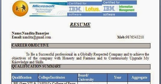 Resume Format For Freshers Civil Engineers Free Download