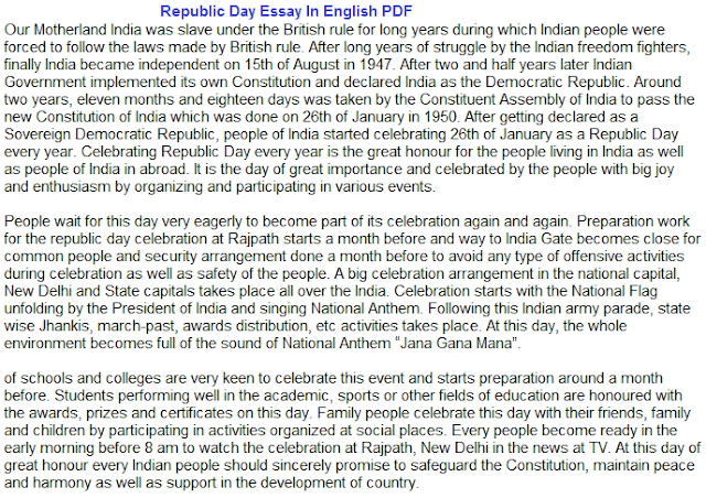 Republic Day Essay In English