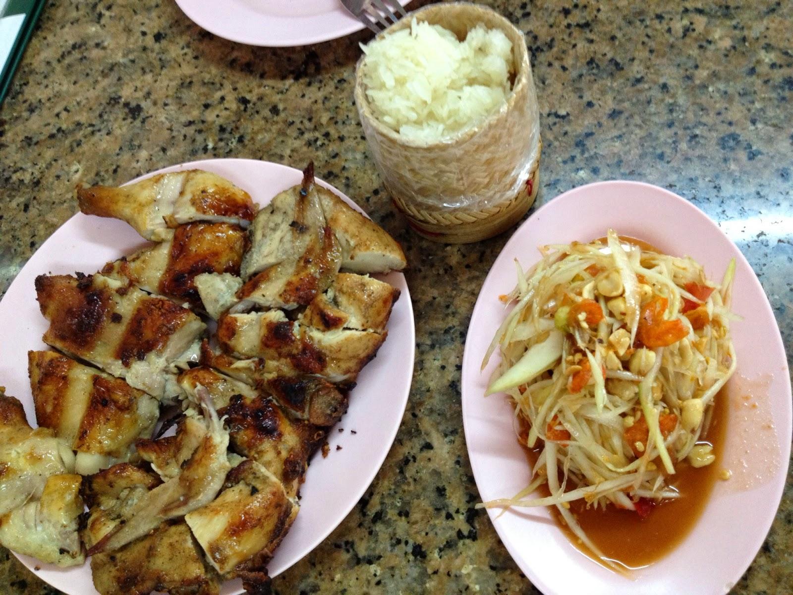 Bangkok - BBQ chicken and super spicy papaya salad