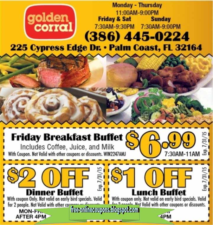 graphic regarding Coupon for Golden Corral Buffet Printable called Printable Discount codes 2019: Golden Corral Discount coupons