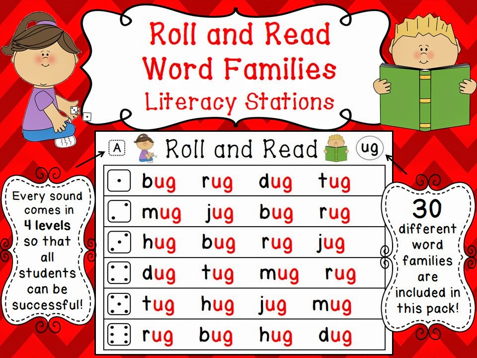 Word families activities - roll and read differentiated fun