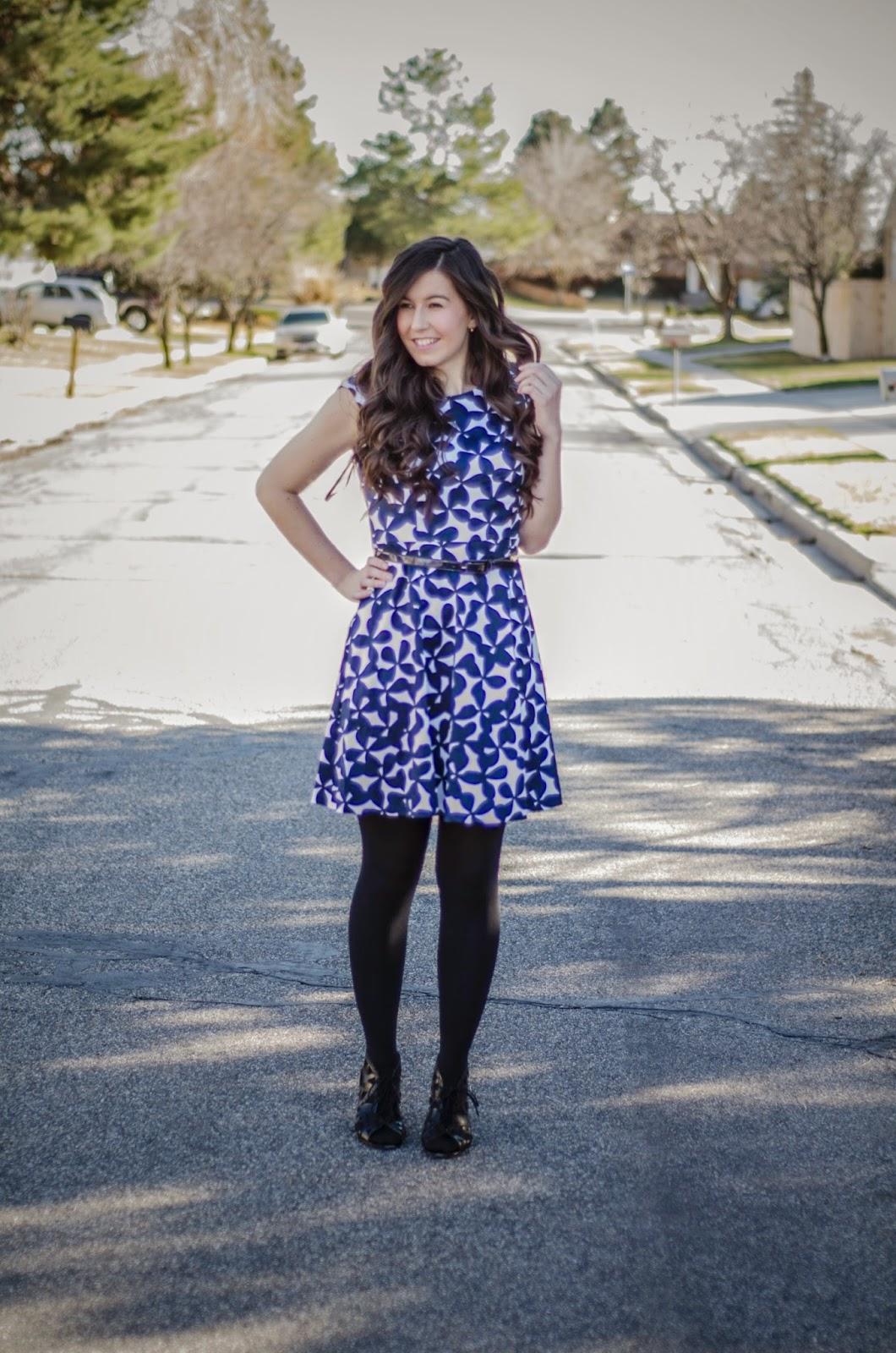 INC clothing, Macy's dress, macys, floral dress, blue and white dress, pretty dress, black wedges, cut out wedges, fit and flare dress, cute dress,