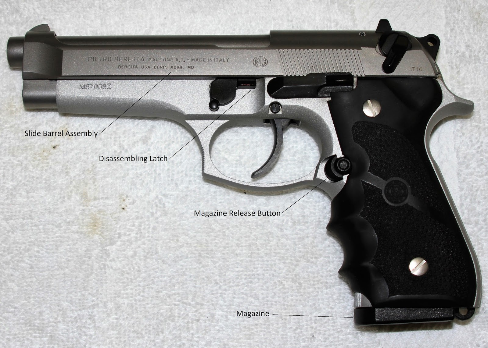 Stripping The Beretta 92 FS Are 1 Remove Magazine And 2 Slide Barrel Assembly For Reference Purposes Ive Labeled Parts Of