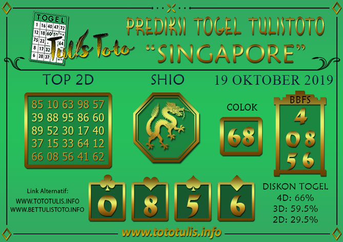 Prediksi Togel SINGAPORE TULISTOTO 19 OKTOBER 2019