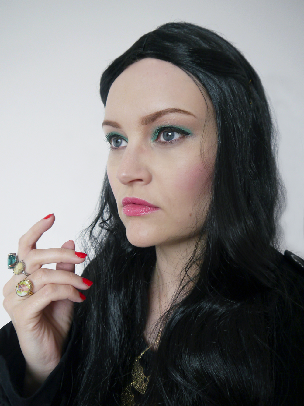 Blogger Kimberley from Wardrobe Conversations dressed in witch Halloween makeup as The Love Witch