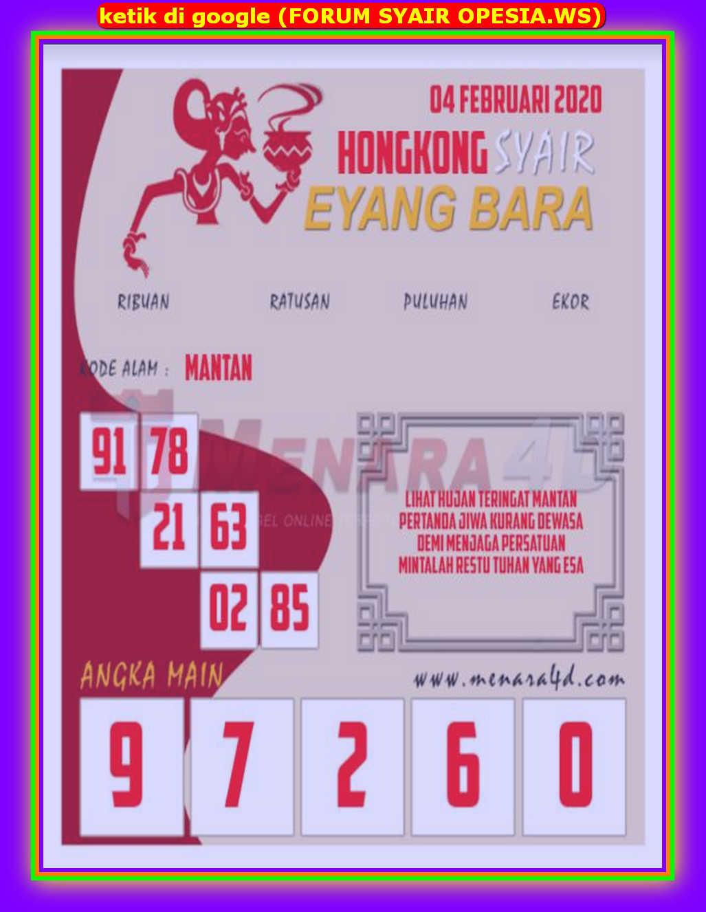 Kode syair Hongkong Selasa 4 Februari 2020 159