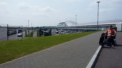Overlooking the exhibition centre and car park