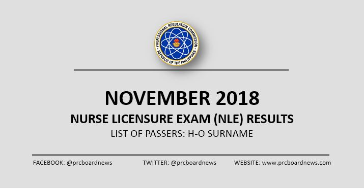 H-O Passers: November 2018 NLE nursing board exam results