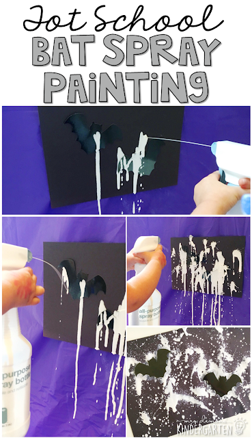 Bat spray painting is a fun way to get some fine motor practice with a bat & spider theme and also makes adorable artwork. Great for tot school, preschool, or even kindergarten!