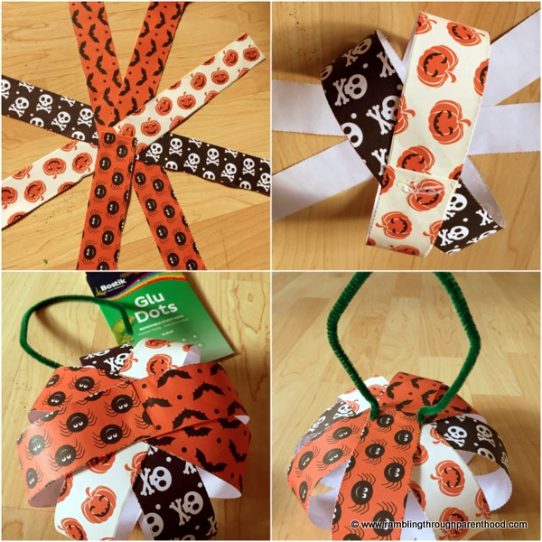 Cut, stick and there you have it - Halloween paper pumpkin