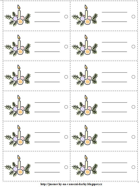 Menovky na dareky (vianon n vrh, 30 na stranu, uren