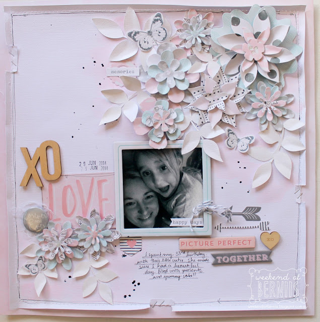 """XO "" layout by Bernii Miller using the "" Love Always"" collection by Cocoa Vanilla Studio."