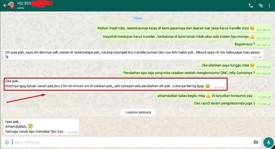 Testimoni QnC Jelly Gamat Bisul