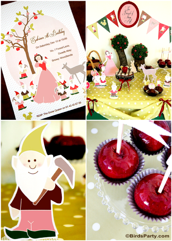 Snow White Birthday Party Ideas and Printables - BirdsParty.com