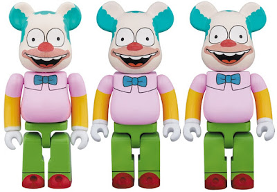 The Simpsons Krusty the Clown 100%, 400% & 1,000% Be@rbrick Vinyl Figures by Medicom