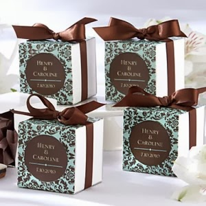 http://www.specialgiftboxes.com/product/chocolate-turquoise-damask-favor-box-set-of-12/