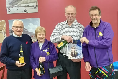 Winners - ABERLADY - John Good, Pam Clark, Morgan Nicoll, Sandy Nicoll (absent) and Graeme Maguire - with the 'disguised' kettle