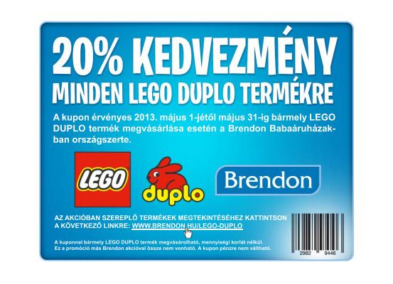 20 % engedményt adnak minden Lego Duplo játékra. Csak ki kell hozzá  nyomtatni a kupont és vásárláskor átadni május 1. és 31. között. 4c5cb6b518