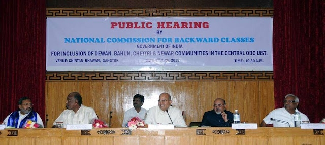 A public hearing for inclusion of Dewan, Bahun, Chettri and Newar communities of Sikkim in the Central OBC
